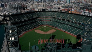 An aerial view from a drone shows Oracle Park.