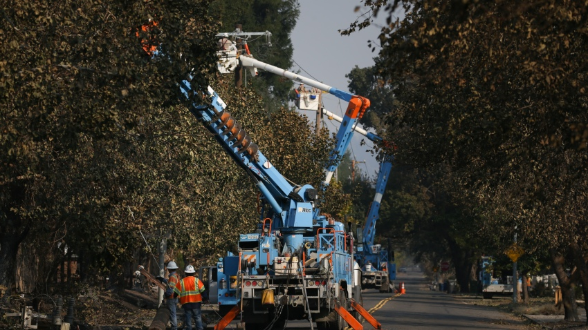 PG&E workers near lines and trees.