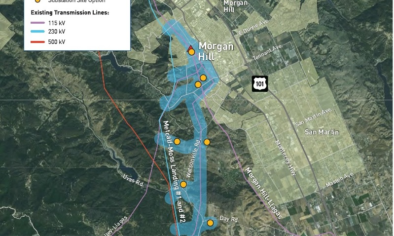 PGE South County Project Proposed Sites Map