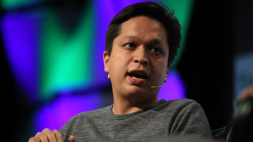In this Sept. 18, 2017, file photo, Pinterest CEO Ben Silbermann speaks with Matthew Lynley of TechCrunch during the TechCrunch Disrupt SF 2017 in San Francisco, California.