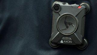 Closeup of a police body-worn camera
