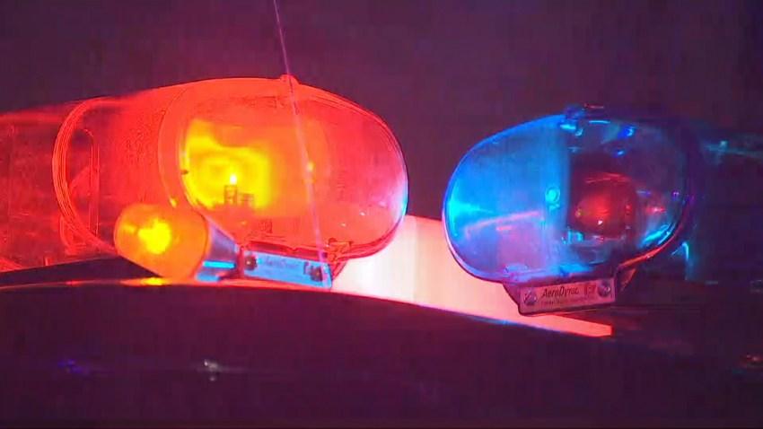 Generic police lights flashing.