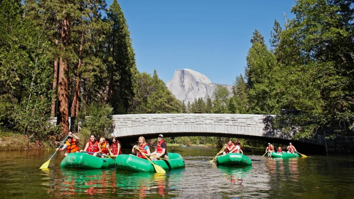 Rafting in Merced River with Half Dome