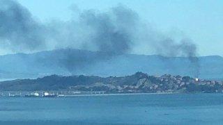 Smoke over the Chevron Richmond Refinery.