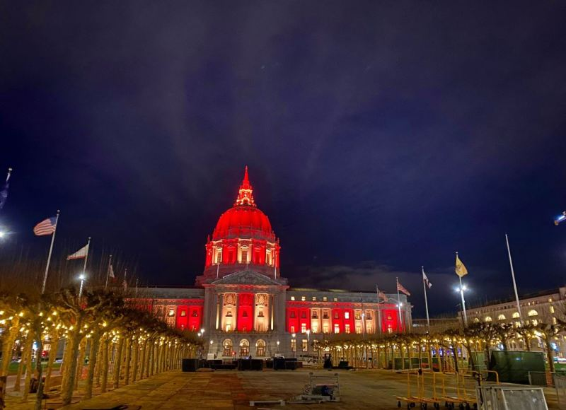 Red and Gold Light Up Bay Area Cities Ahead of 49ers' Big Game