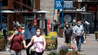 People wearing protective masks walk on Pier 39 in San Francisco