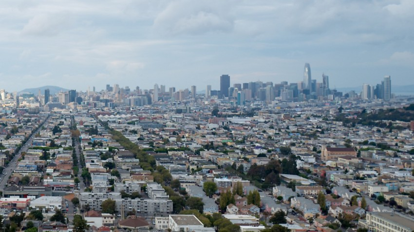 Aerial view of the urban skyline of San Francisco