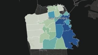 A screenshot of a map that tracks coronavirus cases in San Francisco by zip code.