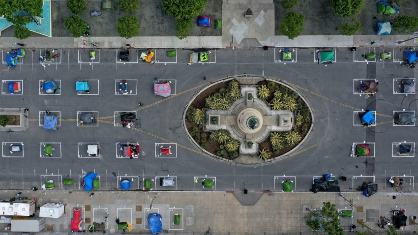 An aerial view of San Francisco's first temporary sanctioned tent encampment for the homeless.
