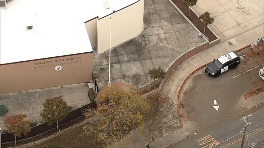 A police car at San Jose High School