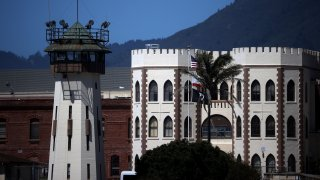 In this June 29, 2020, file photo, the exterior of San Quentin State Prison is seen in San Quentin, California.