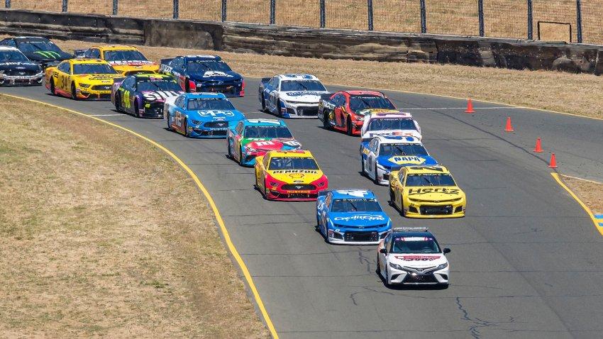 Cars racing at Sonoma Raceway.