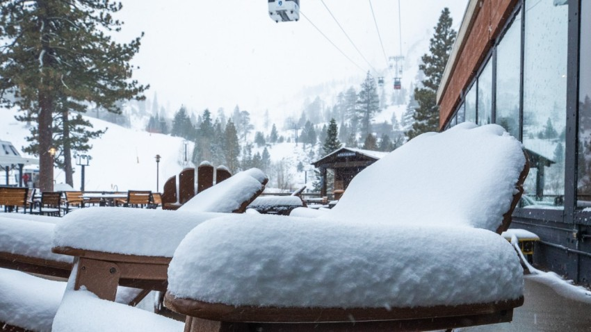 Snow piles up at Squaw Valley.