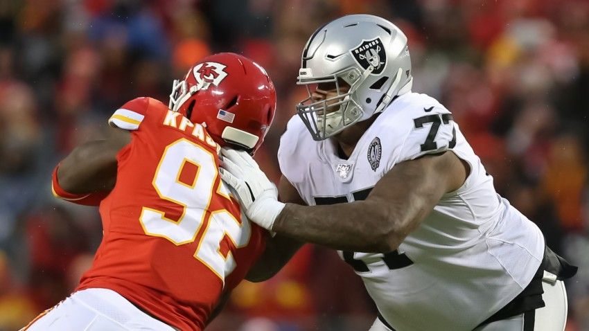 Oakland Raiders offensive tackle Trent Brown.