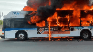 Flames engulf a VTA bus in San Jose.