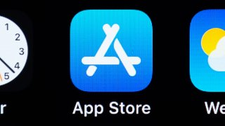 The App Store logo on an iPhone.