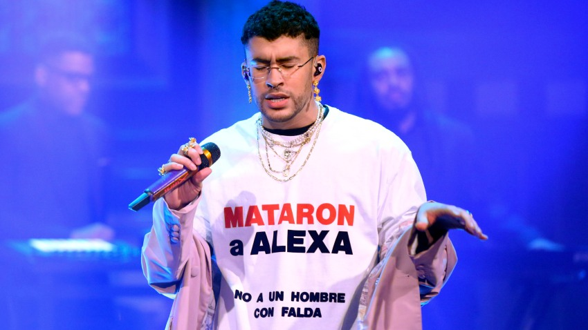 """In this Feb. 27, 2020, file photo, Bad Bunny and Sech (not pictured) perform on """"The Tonight Show Starring Jimmy Fallon."""""""