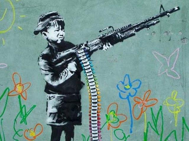 banksy Westwood Crayola gun shooter