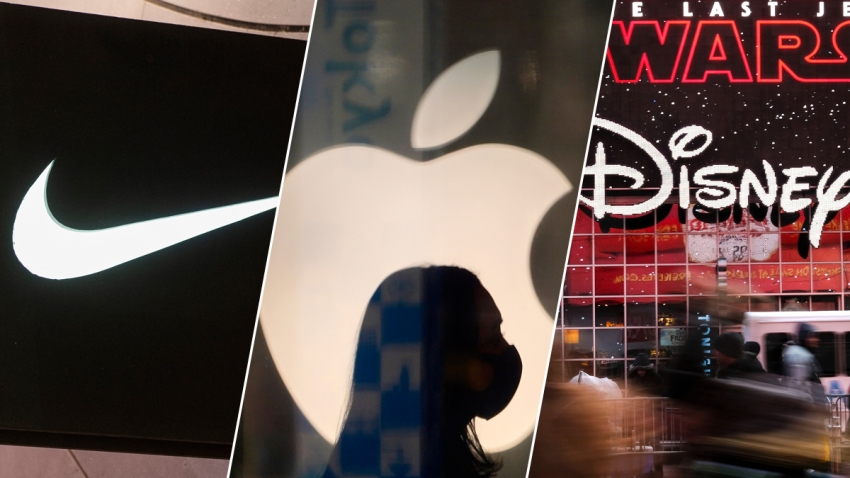 The store logos of Nike, Apple and Disney as seen from left to right.