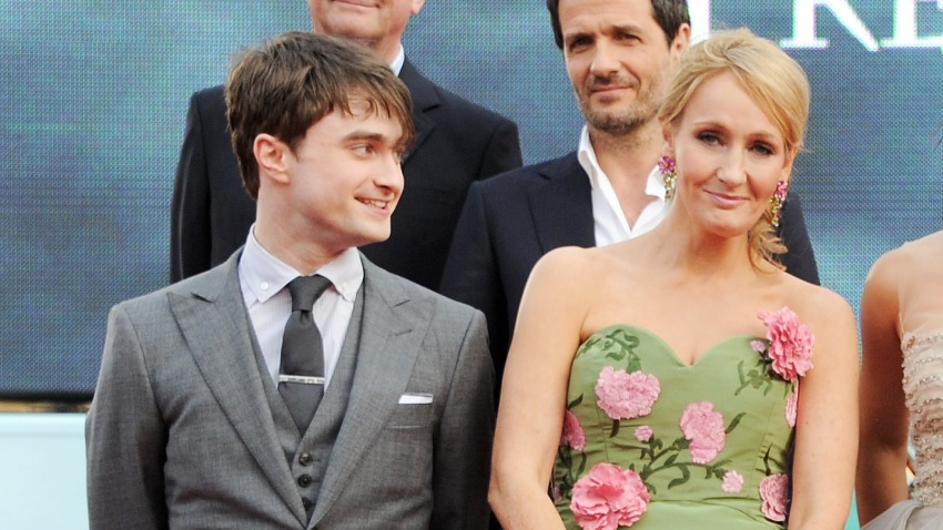 """In this July 7, 2011, file photo, Actor Daniel Radcliffe (L) and author J.K. Rowling attend the World Premiere of """"Harry Potter And The Deathly Hallows Part 2"""" in Trafalgar Square in London, England."""