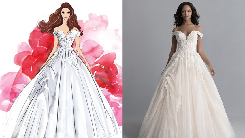 """""""Beauty and the Beast""""-inspired wedding gown."""