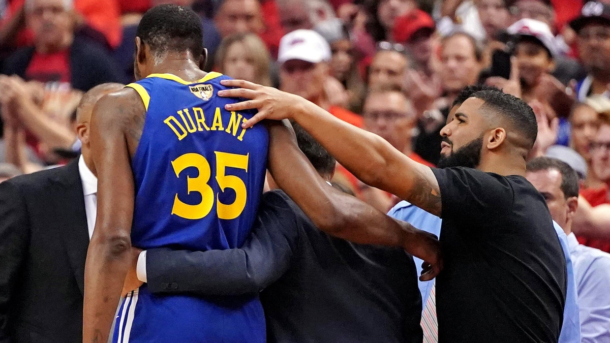 Watch Moment Kevin Durant S Calf Popped In Nba Finals Game 5 Vs Raptors Nbc Bay Area
