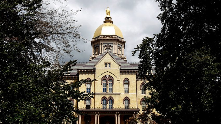 """In the Sept. 4, 2010, file photo, the """"Golden Dome"""" is seen on the campus of Notre Dame University before a game between the Notre Dame Fighting Irish and the Purdue Boilermakers at Notre Dame Stadium in South Bend, Indiana."""