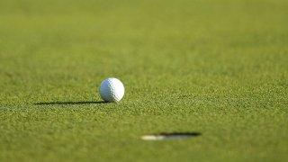 A golf ball is seen resting near a hole.