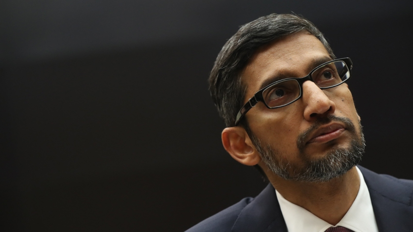 In this file photo, Sundar Pichai, chief executive officer of Google Inc., listens during a House Judiciary Committee hearing in Washington, D.C., U.S., on Tuesday, Dec. 11, 2018.