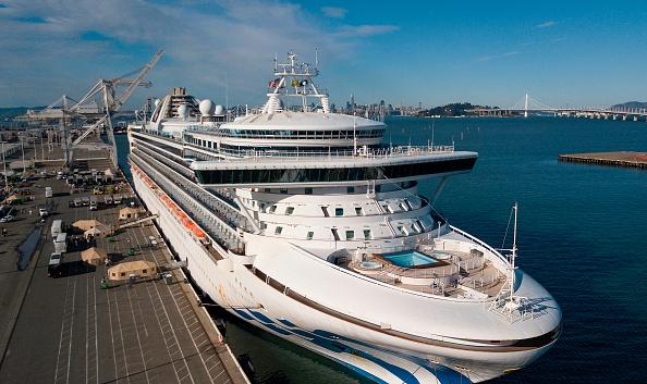 Cruise ship docked.