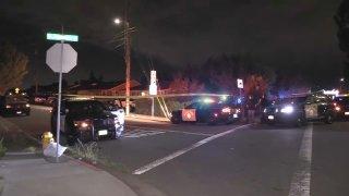 Police investigate a scene in Hayward