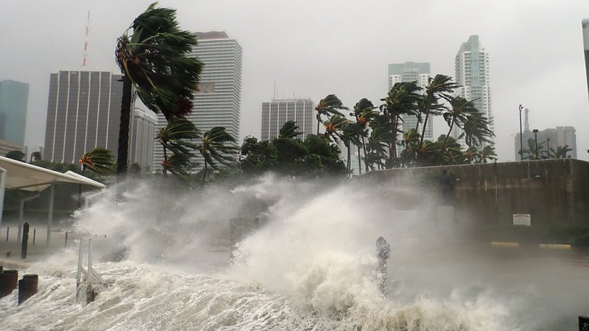 Hurricane Irma seen striking Miami with 100+ mph winds and destructive storm surge.