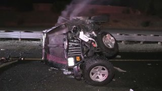 Crumpled Jeep in DUI crash on Highway 17.