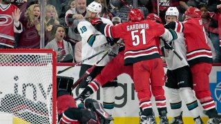 [CSNBY] Watch Sharks' Joe Thornton tussle with Hurricanes goalie Petr Mrazek
