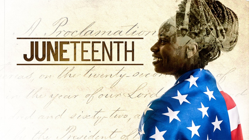 Graphic for Juneteenth of a woman with an American flag over her shoullders