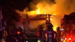 A mobile home burns in Morgan Hill