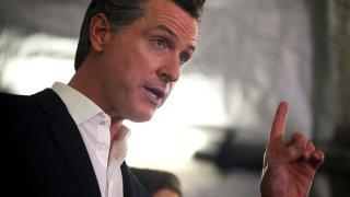 California Governor Gavin Newsom speaking at a news conference