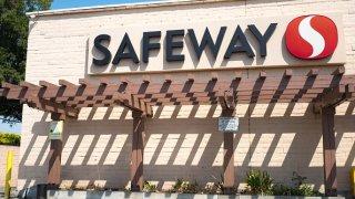 Safeway supermarket sign.