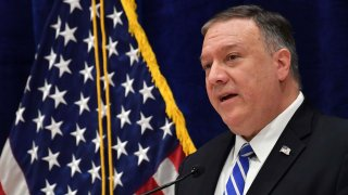 In this Feb. 29, 2020, file photo, U.S. Secretary of State Mike Pompeo addresses the press following the US-Taliban deal signing ceremony in the Qatari capital Doha.