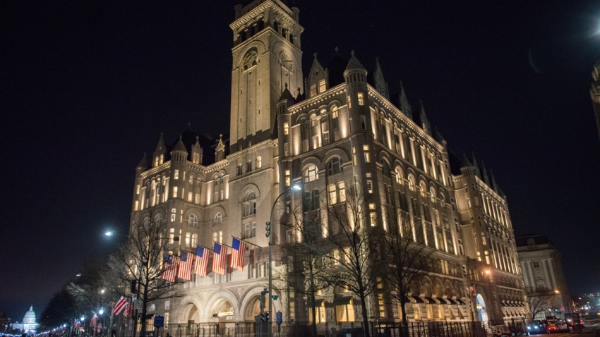 A view outside Trump International Hotel in Washington, D.C. one day before the inauguration of Donald Trump Jan. 19, 2017, in Washington.