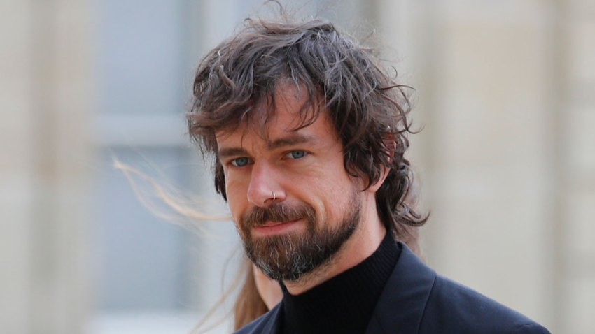 In this June 7, 2019, file photo, Twitter CEO Jack Dorsey arrives at the Elysee Palace to meet French President Emmanuel Macron in Paris.