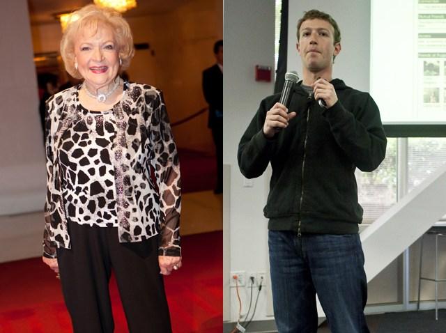 Betty White and Mark Zuckerberg
