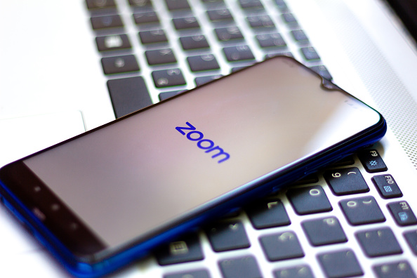 Zoom Video Communications logo seen displayed on a smartphone