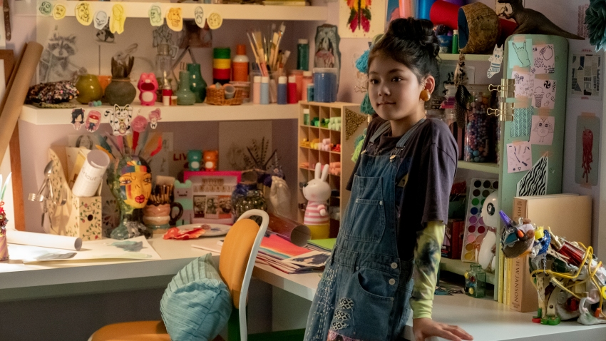 "This image released by Netflix shows Momona Tamada portraying Claudia Kishi in a scene from the Netflix series ""The Baby-Sitters Club"""