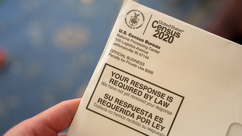 Close-up of human hand holding a letter from the Census Bureau regarding the 2020 Census, San Ramon, California, April 24, 2020.
