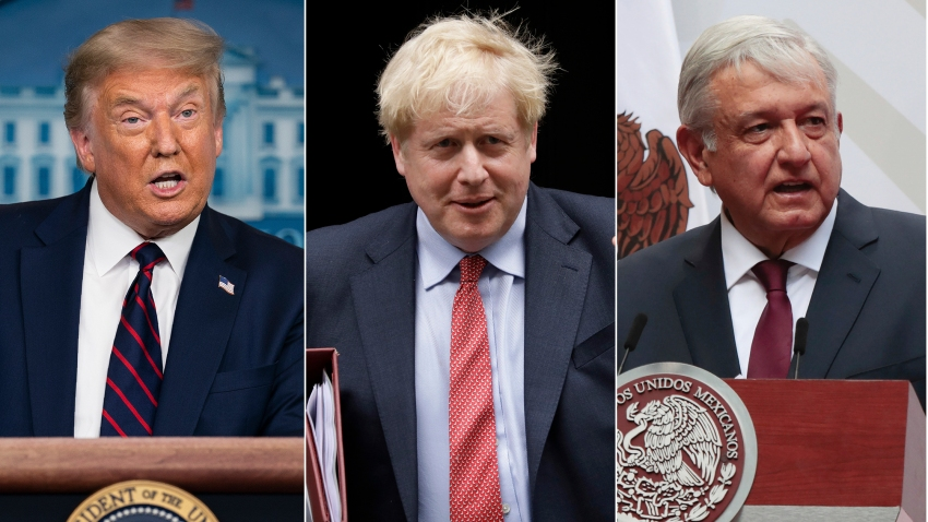 This combination photo shows U.S. President Donald J. Trump, from left, British Prime Minister Boris Johnson, and Mexican President Andres Manuel Lopez Obrador.