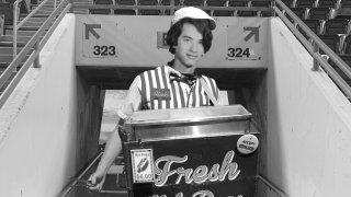A 19-year-old Tom Hanks selling concessions at the Oakland Coliseum.