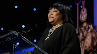 In this Nov. 9, 2013, file photo, Zindzi Mandela speaks onstage during the 2013 BAFTA LA Jaguar Britannia Awards presented by BBC America at The Beverly Hilton Hotel in Beverly Hills, California.