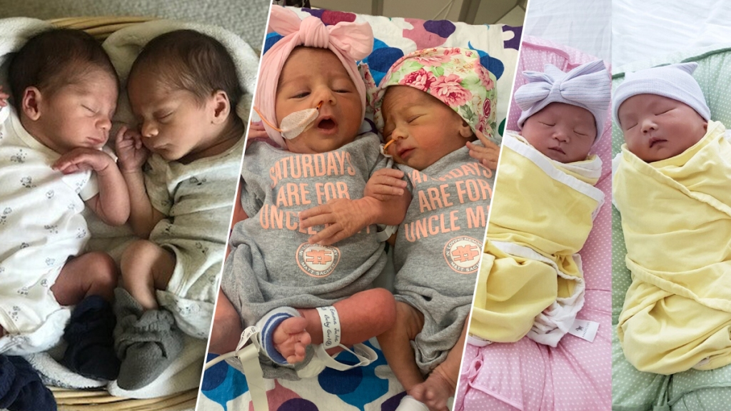 Three of the four sets of twins born at Lucile Packard Children's Hospital Stanford in 32 hours.