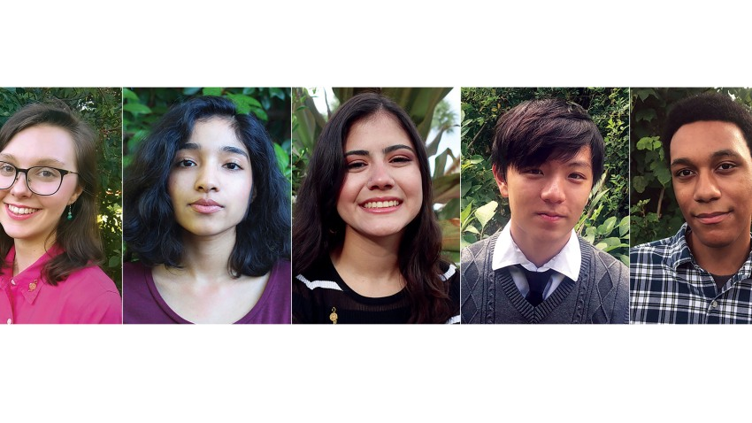 This combination of photos released by the National Student Poets Program shows, from left, Madelyn Dietz, Manasi Garg, Isabella Ramirez, Ethan Wang and Anthony Wiles who have been named finalists in the Class of 2020 National Student Poets Program. Each receives a $5,000 cash award.
